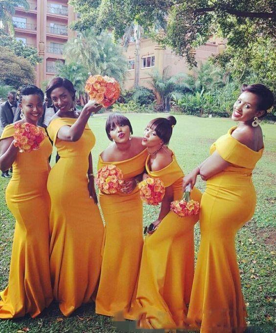 Южно-Африканская С Плеча Платья Невесты 2017 Плюс Размер Русалка Фрейлина Платья Свадьба Гость Вечернее Платье