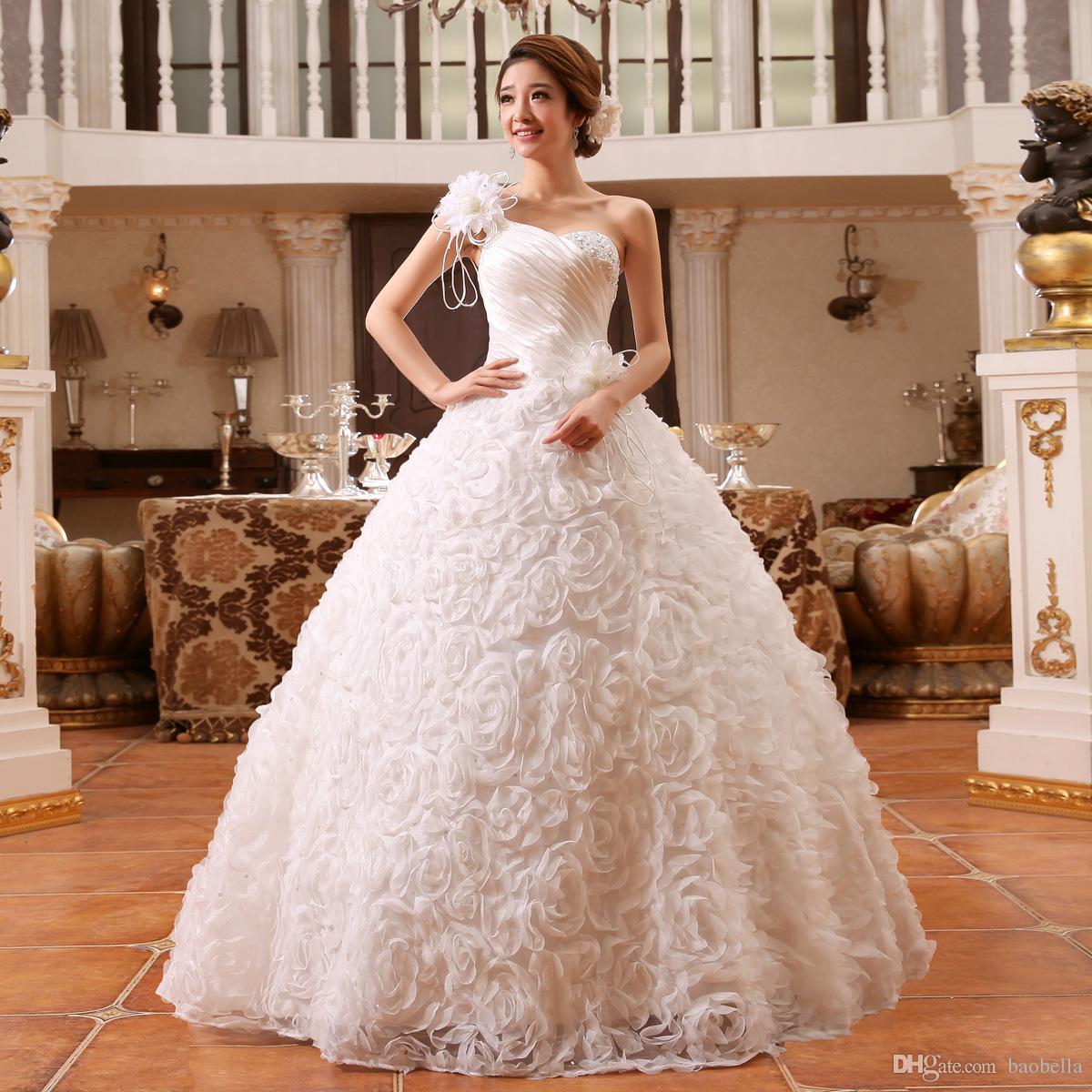 Compre Un Hombro Flores Princesa Vestido De Novia Rojo Crystal Tulle ...