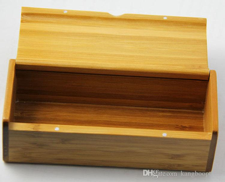 Boîte en bois fait main dure ronde cas de bambou