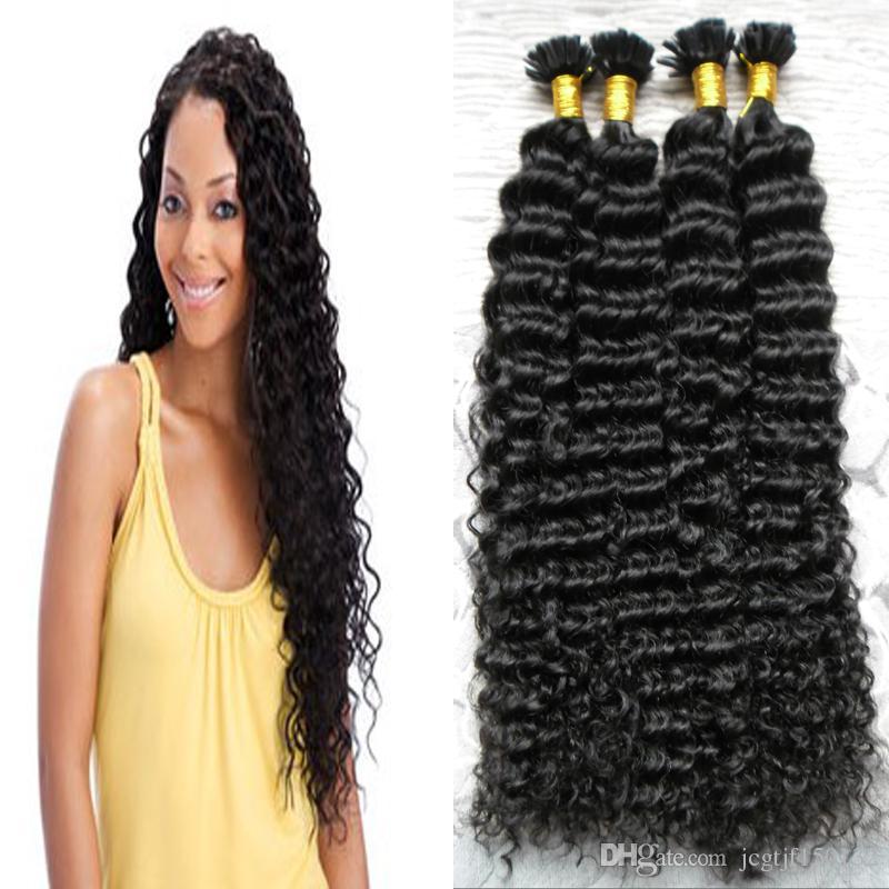 Deep Wave Keratin-Haarverlängerung U Tip Haarverlängerung Keratin Nail Tip Haarverlängerung Pre-bonded Human Extensions Schwarz 200g