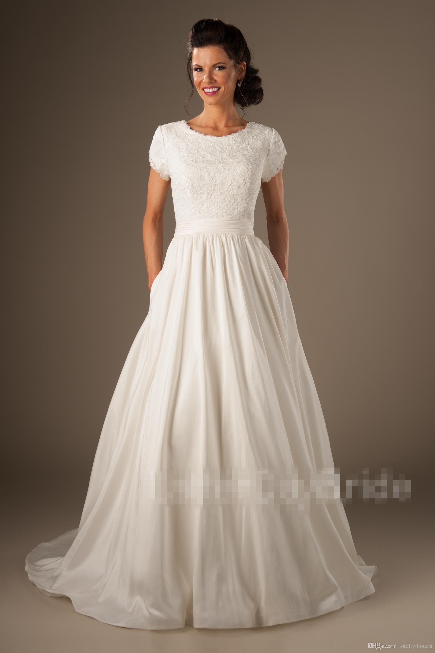 Discount 2017 Country Modest Wedding Dresses Cap Sleeves Jewel O Neck Lace Top Satin Skirt Buttons Back Vintage Simple Bridal Gowns Sleeved Couture Western: Very Modest Wedding Dress At Websimilar.org