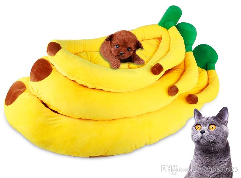 2017 Hot Sale 100% Cotton Banana Shape Pet Cat Bed Sofa Padded dog bett Creative House Kennel with mat for dog letto cani