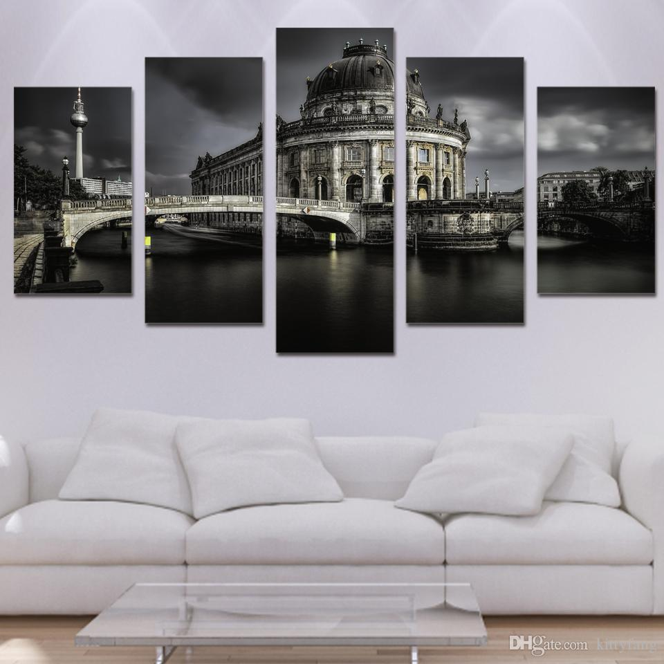 Framed HD Printed Castle Lake Landscape Picture Canvas Poster Picture Print Painting On Canvas Artworks