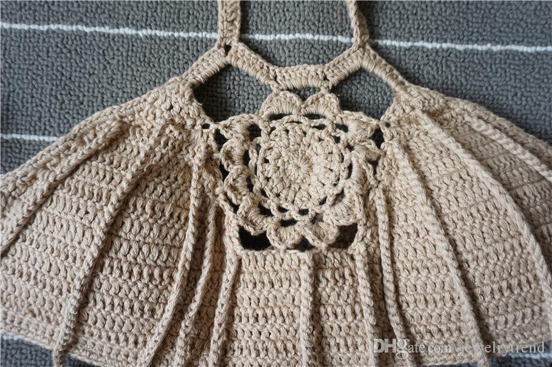 Estate New Bohemian Womens Halter Weave Crochet del costume da bagno Tankinis Bikini Set nappe lavorato a maglia Bikini Triangolo Swimwear costume da bagno