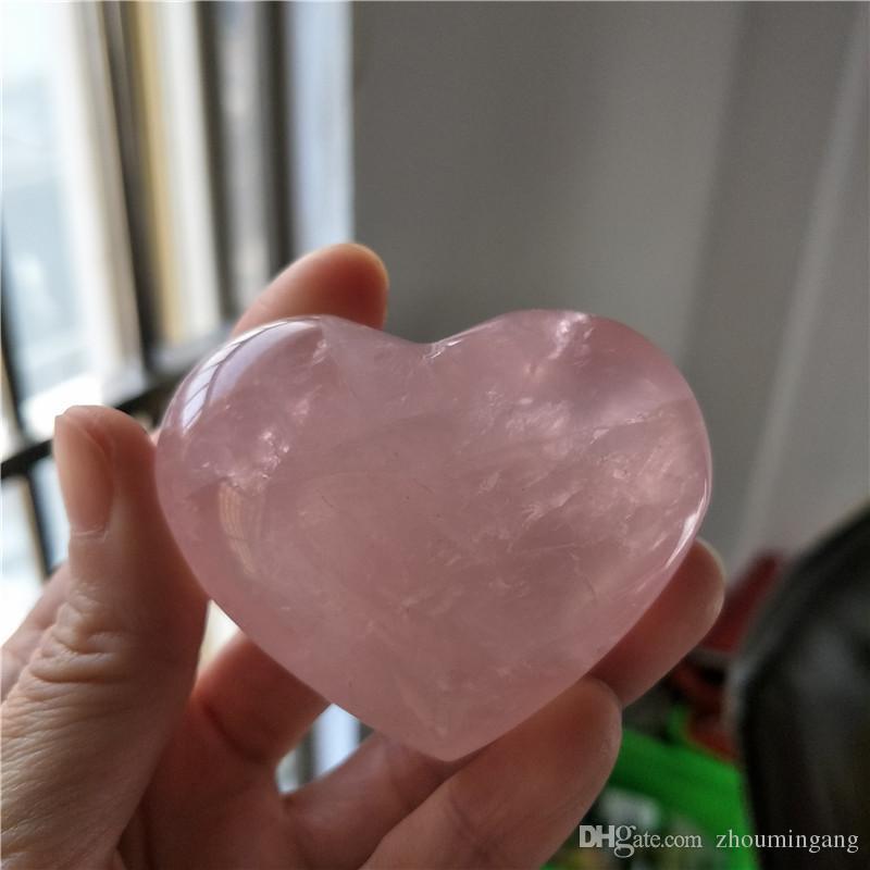Натуральный камень из розового кварца, резной кристалл рейки исцеления любовь очистить в форме сердца камень розовый камень для романтической любви