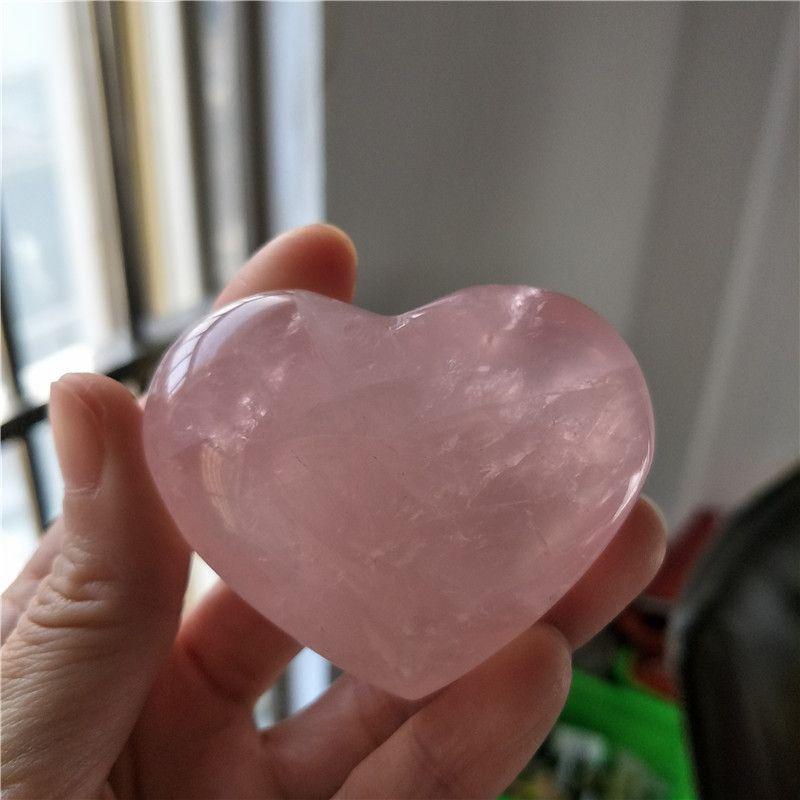 Doğal eskitme gül kuvars oyma kristal reiki şifa aşk romantik aşk için arındırmak kalp şeklinde taş pembe taş