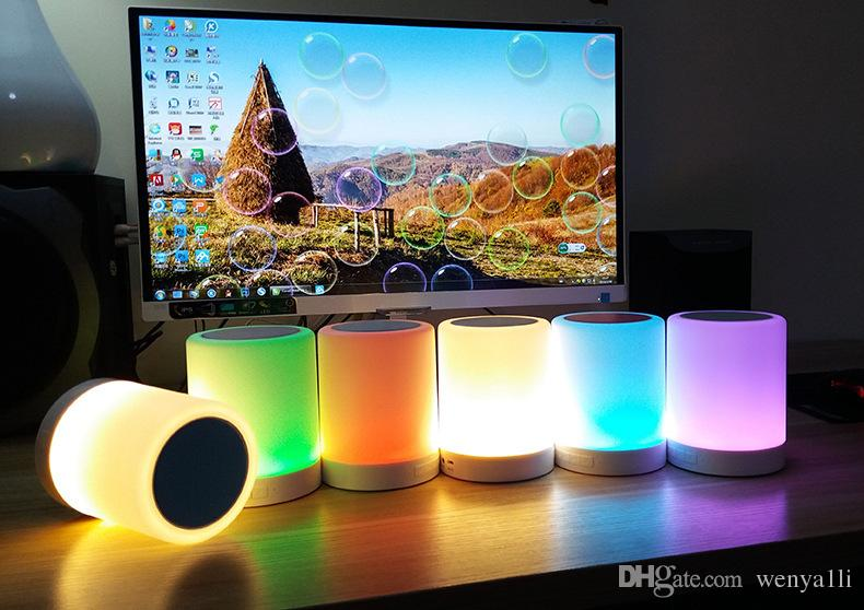 Touch LED Light Lamp Smart Wireless Bluetooth Speaker Colorful outdoor portable Music Player subwoofer TF card hands-free