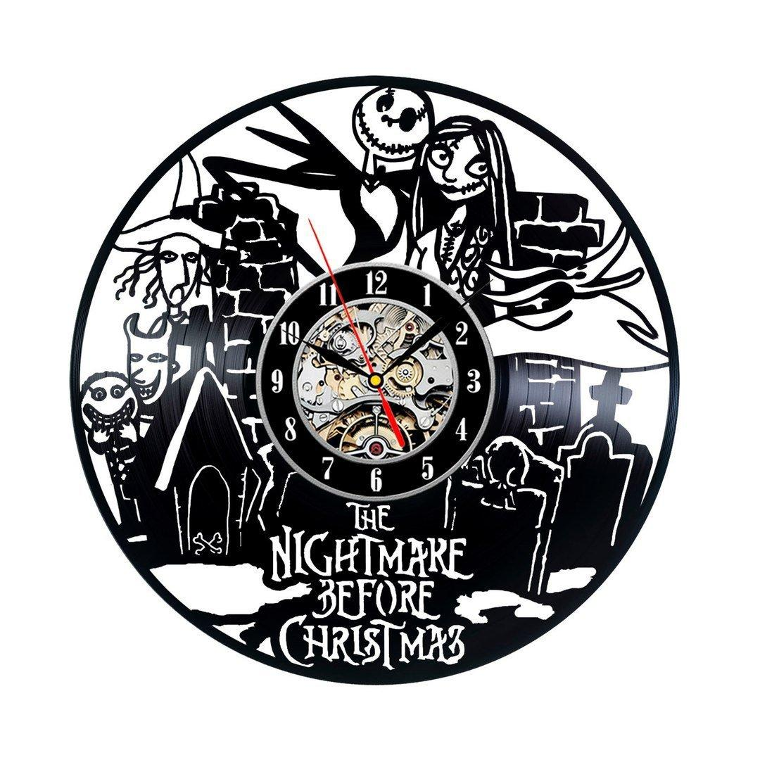 Nightmare Before Christmas Vinyl Record Vintage Clock Outdoor Wall ...