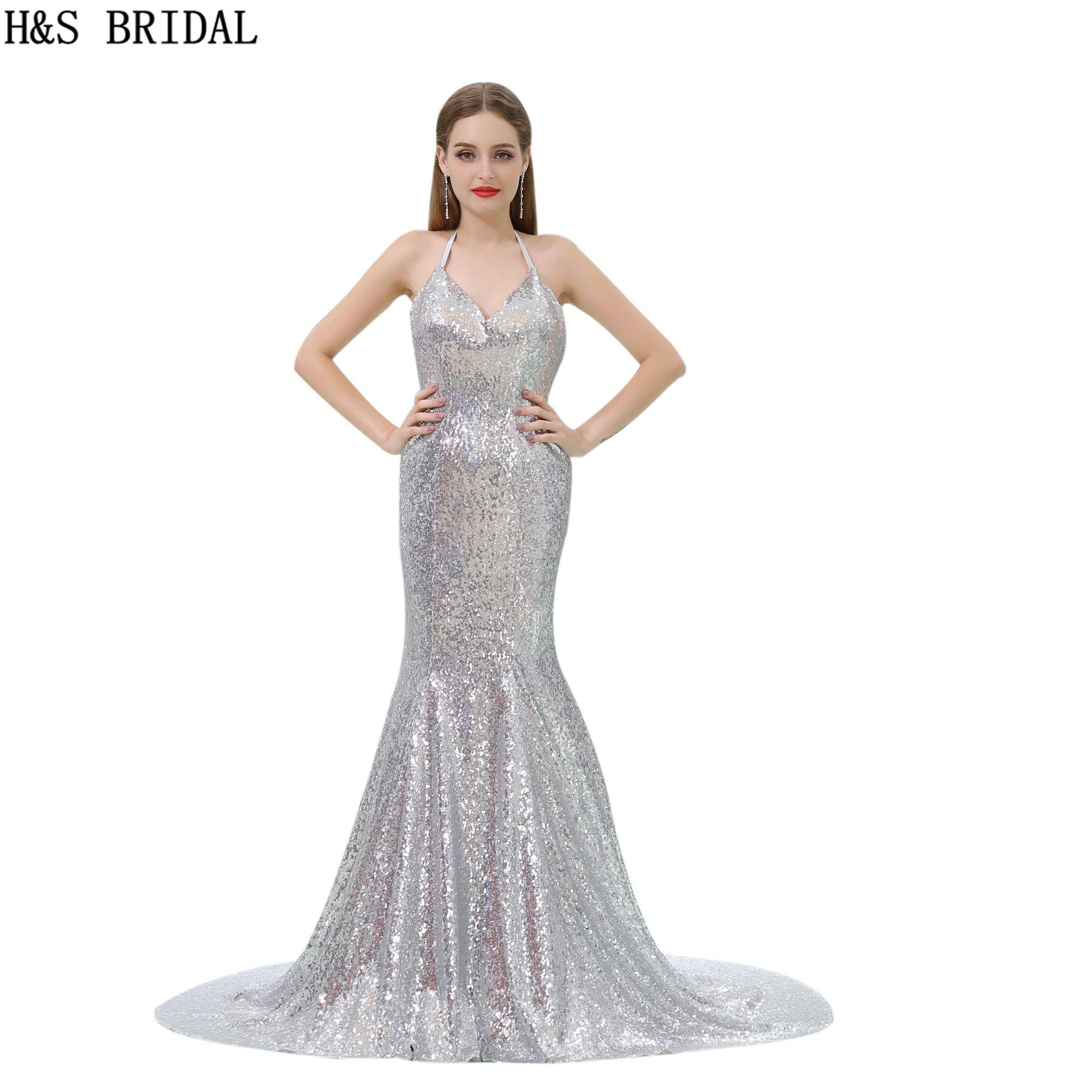 f617614d2275 Lentejuelas barato medianoche vestido de noche de plata profundo con cuello  en V vestido de fiesta de baile sirena vestido de lentejuelas vestido de ...