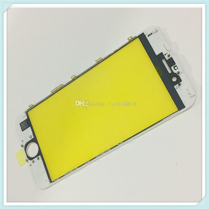 LCD Front Touch Screen Glass Outer Lens with Middle Frame Bezel Assembly Replacement for iPhone 6 6S 6 Plus 6s Plus Black White