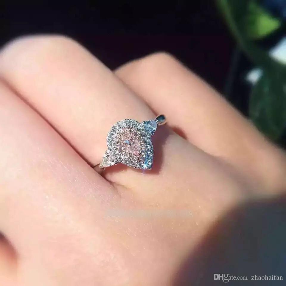 De calidad superior 3ct 925 anillos de compromiso de plata de ley anillo de piedra natal DIY amor anillos de corazón caja de regalo gratis