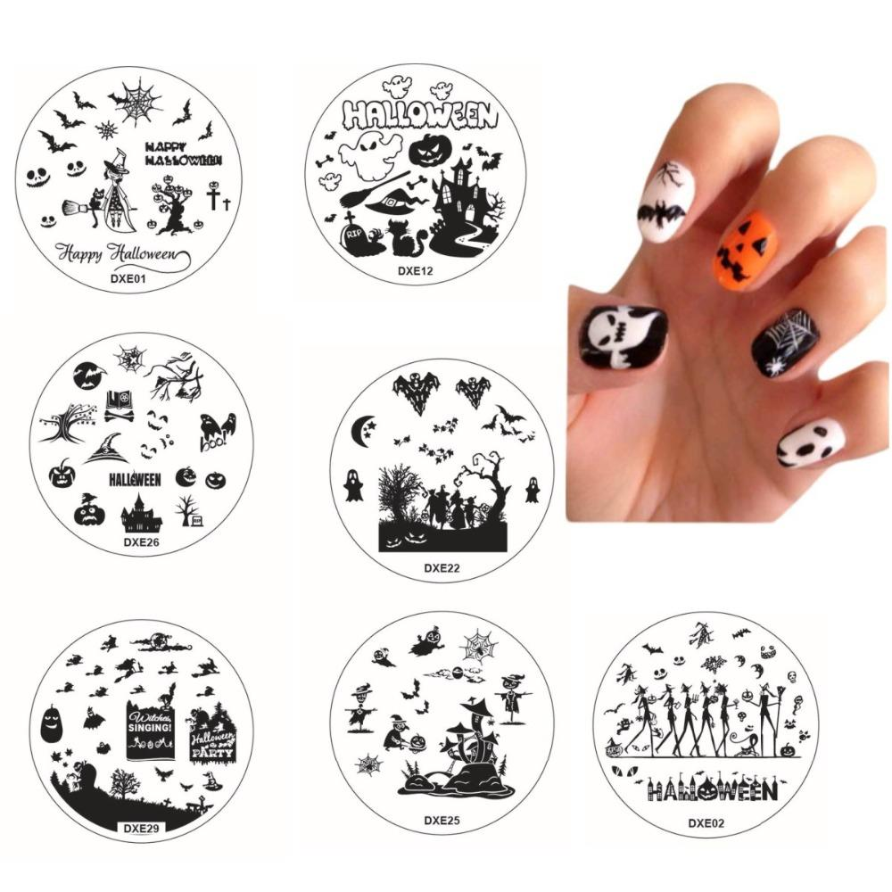wholesale halloween nail stamping templates stamp plate image printing transfer polish stamp bats vampire pumpkins horrible face 30 style nail art stickers