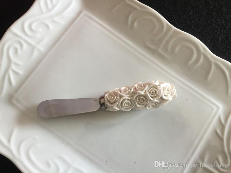 Delicate Resin Rose Butter Spreader Wedding Favors Bread Jam Knife Cheese Dessert Tool Event Favors Party Gifts Supplies ZA3265