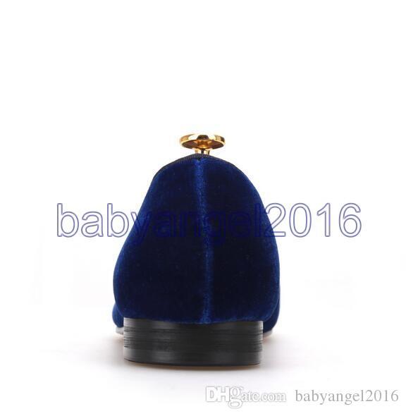 Königsblauer Samt Handgefertigte Herrenschuhe mit marineblauem Bowtie Fashion Prom und Hochzeitskleid für Herren Müßiggänger in Übergröße für Herren