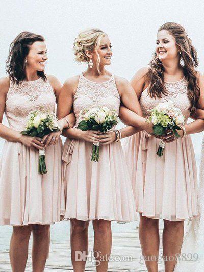 2017 Short Bridesmaid Dresses A Line Knee Length Chiffon Wedding Guest Dresses Summer Beach Wedding Party Dress DTJ