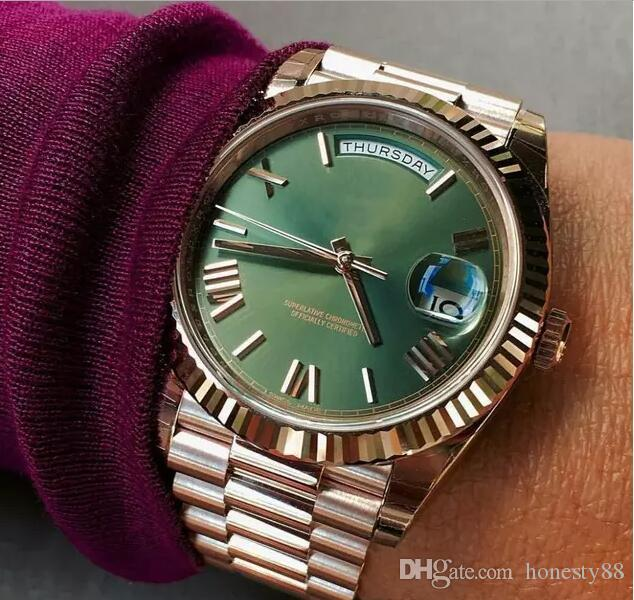 Green Face Watch >> Luxury Mens Watch Green Face Rose Gold Stainless Steel Original