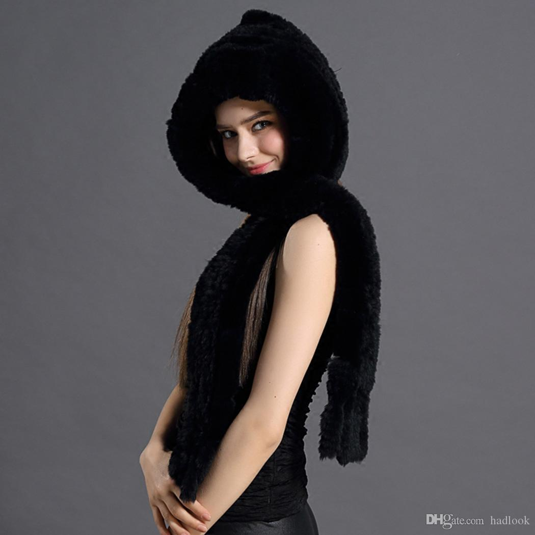 Hats Warm Winter Rex Rabbit Fur Hat Pattern Warm Thick Dual-Use Encryption Scarves Hats Fashion