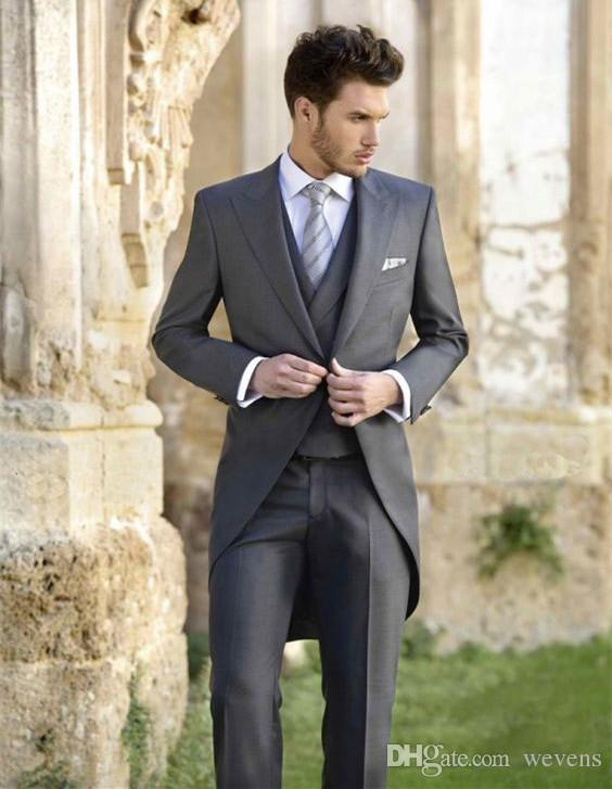 Classy Wedding Tuxedos Tailcoat Slim Fit Suits For Men Jacket Vest And Pants Groom Men Suit Three Pieces Prom Formal Suits
