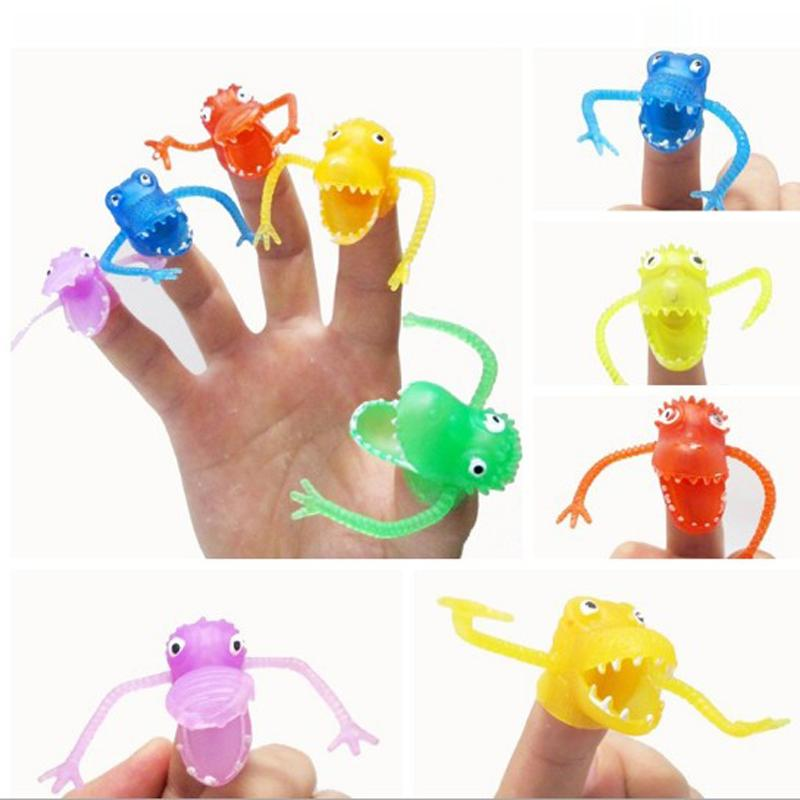 100pcs Dinosaur Finger Puppets Story Time Kids Funny Dinosaur Toys Pinata Party Favors Toy Rubber Puppets New-Color Assorted