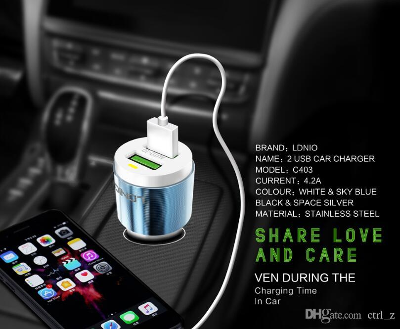 Original LDNIO C403 Car Charger 2 USB Port Adapter Quick Charging 5V 4.2A with usb For iPhone Samsung Galaxy Xiaomi Car-charger