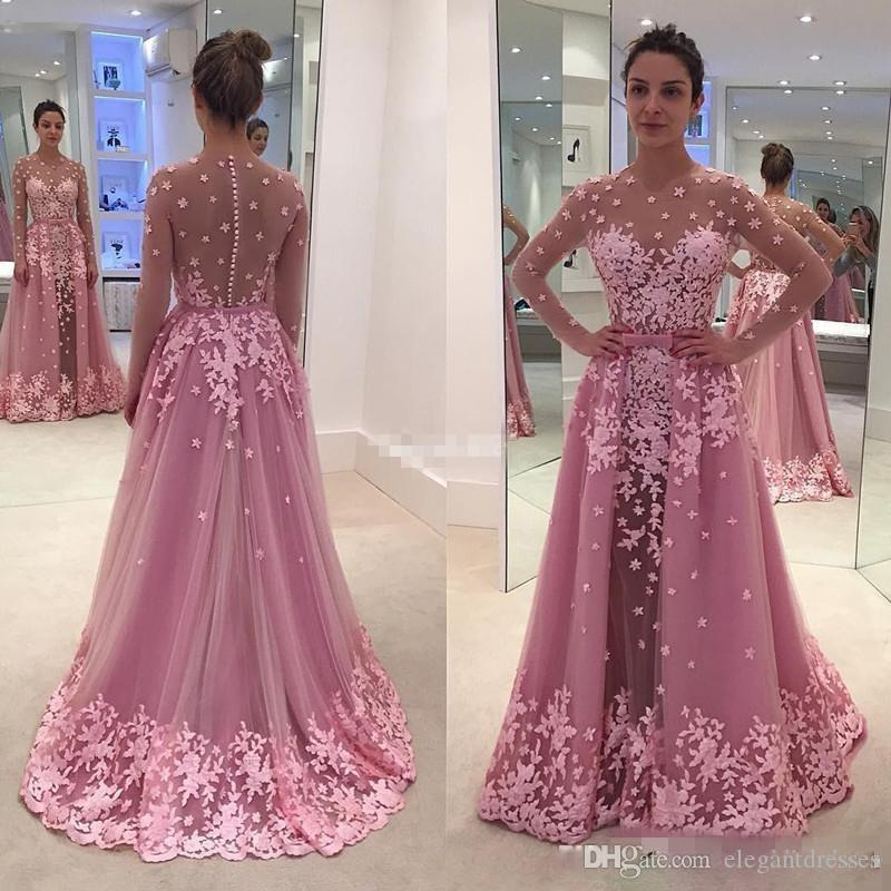 32b791e73b9 3D Floral Applique Illusion Long Sleeve Pink Prom Dresses With Detachable  Train Lace Covered Button 2017 Women Formal Wear Evening Gowns Prom Dresses  ...