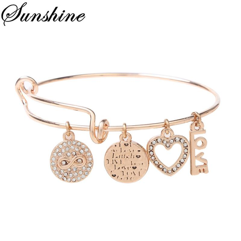2018Newest Design Silver/Rose Gold Plated Copper Bracelets with Endless Love Charm Dangle for Women Jewelry with AX-202