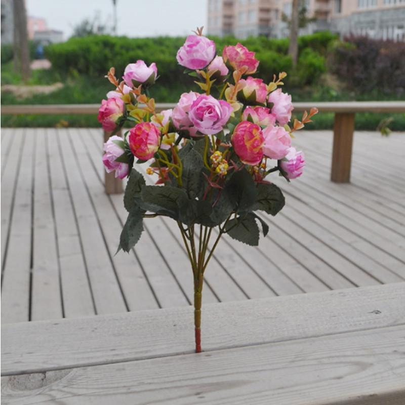 Decorative Silk Artificial Flowers Rose Bouquet Bride Bouquets