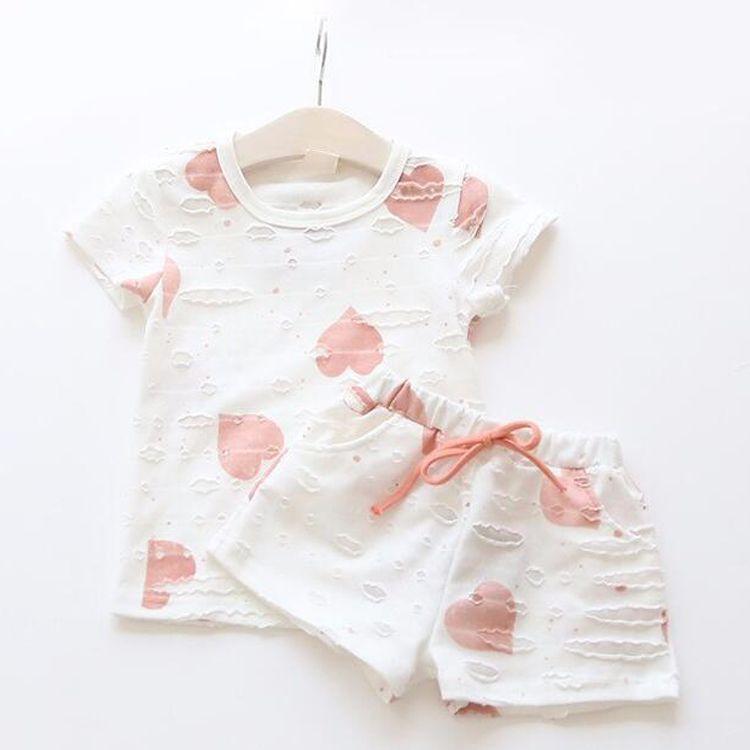 Girls Clothing Sets Summer Heart Printed T Shirt+Short Pants Kids Children's Clothing Suits 1 ==Cotton