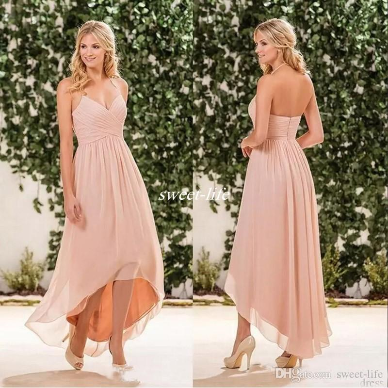 ee911a3fe191 Summer Hi Lo Bridesmaid Dresses Spaghetti Straps Backless A Line Chiffon  Blush Pink Beach Wedding Maid Of Honor Party Gowns Plus Size 2017 Copper  Bridesmaid ...