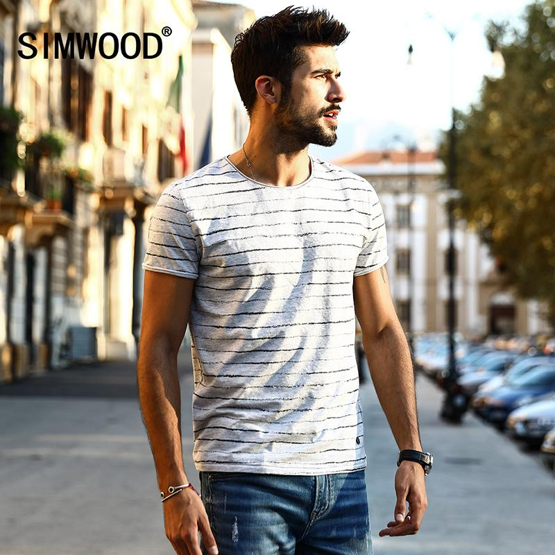7c3e79929c2ba Wholesale- SIMWOOD 2017 New Arrival Spring Summer Striped T Shirt Men  Shorts Sleeve Fashion Vintage Breton Top Tees TD1133 Tee Cross Tee Shirt  Michael ...