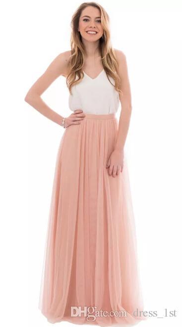 Venta caliente 2017 rubor rosado tul de dos piezas vestidos de dama de honor largo barato blanco v-cuello en V pino longitud longitud boho dama de honor vestidos EN3041
