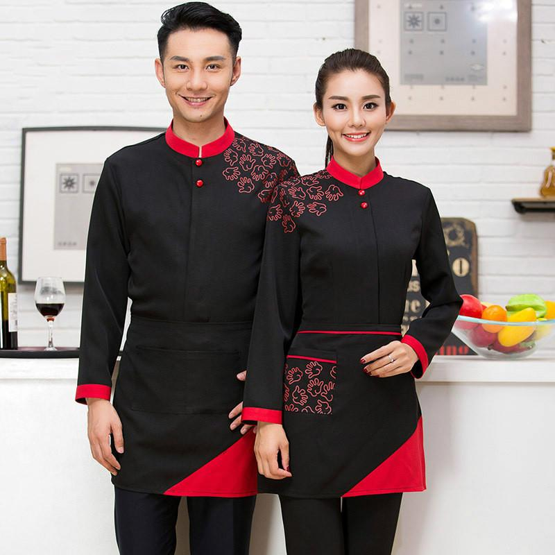 15d5a3bbe75 2019 Q0228 Hot Pot Restaurant Coffee Shop Waiter Uniforms Female Hotel  Waiter Korean Clothes With Long Sleeves With Apron From Shen8408
