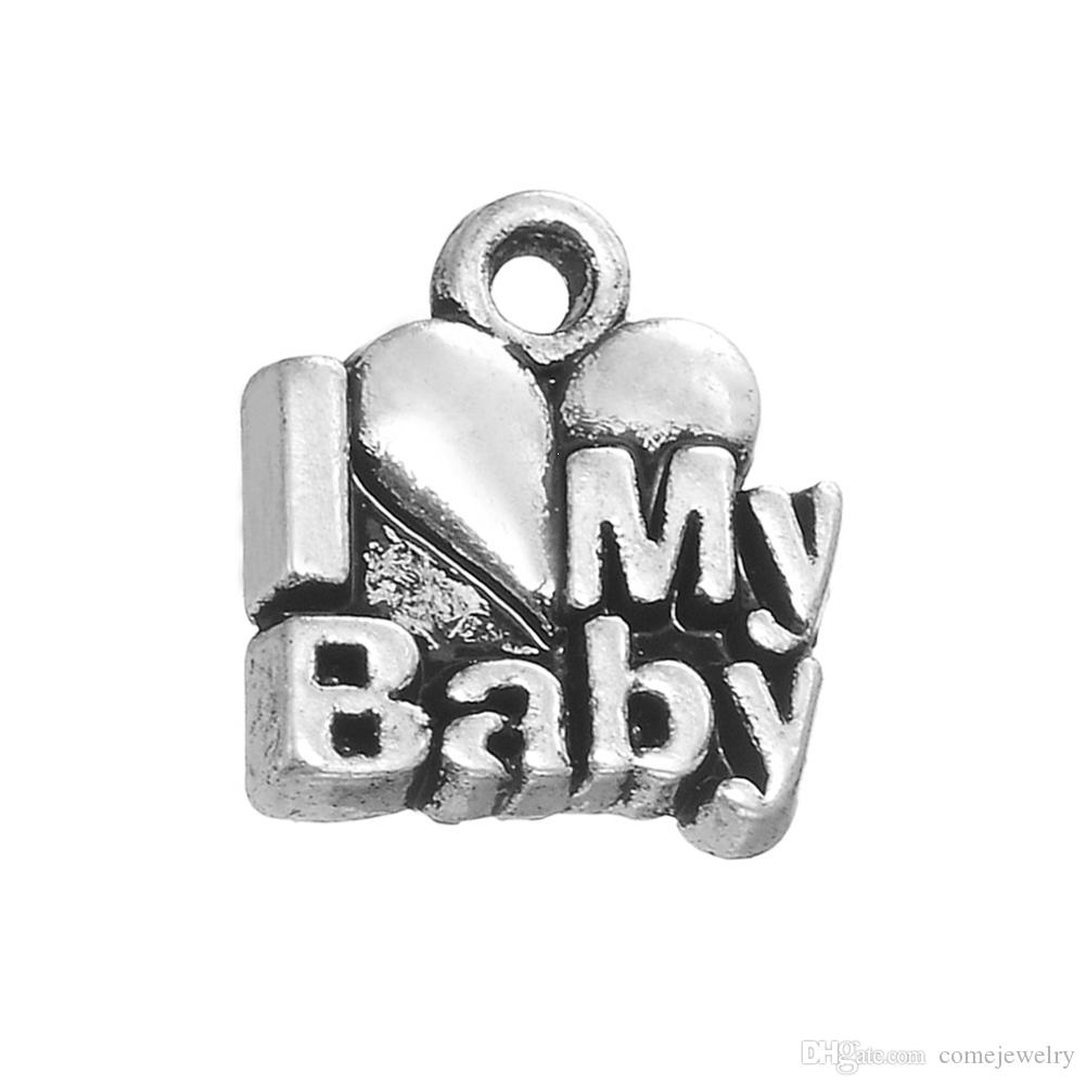 Lastest Fashion Exquistite I Love My Baby Heart Message Charms for Baby Gift Jewelry