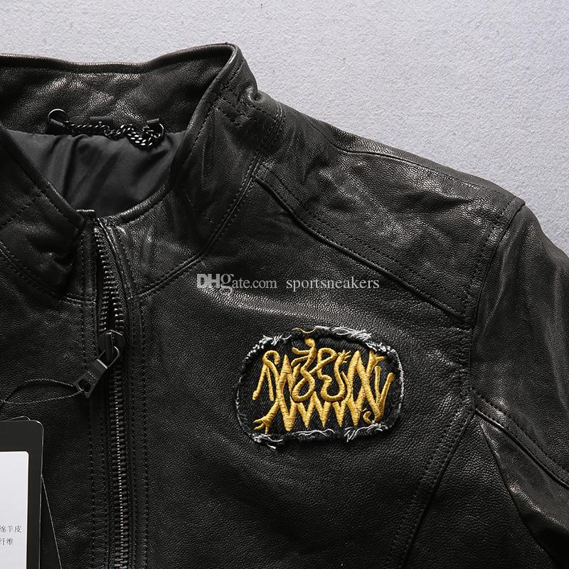 Men leather jacket Flocking sheep genuine leather embroidered China Dragon sleeve and black of coat motorcycle suit