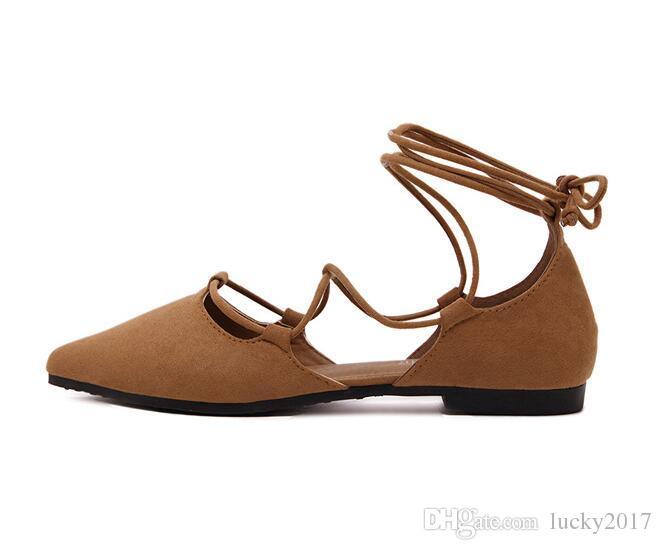 2017 yeni yaz kadın düz sivri kapalı ayak sandalet lace up çapraz askıları süet rahat kadın tasarımcı sandalet ayakkabı oymak