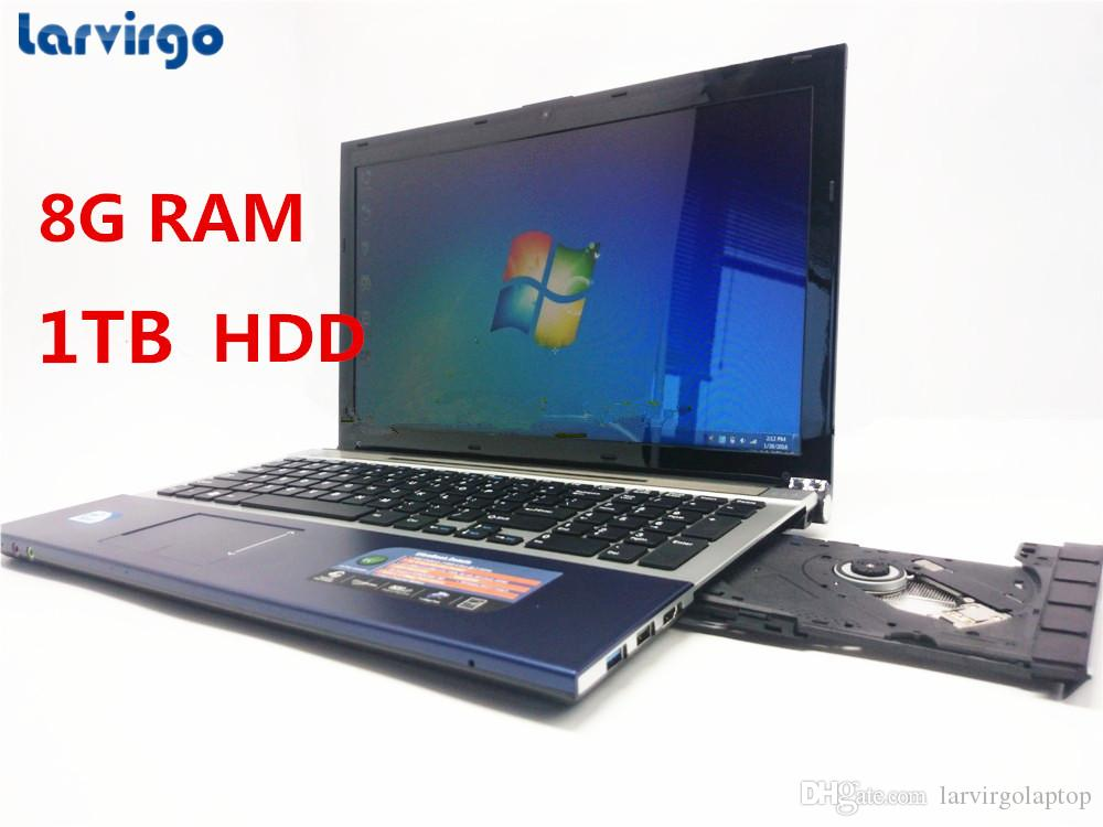 15.6 Inch PC Computer Windows7/8 With DVD-RW 8GB +1TB HDD Laptop Qual Core Atom 1.99GHz Wifi notebook netbook 1920*1080P