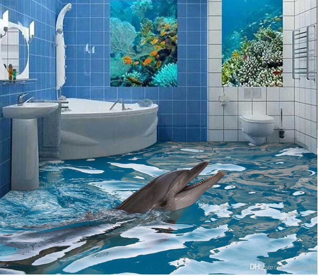 New custom 3d beautiful 3d bathroom floor tile wallpaper for see larger image doublecrazyfo Gallery