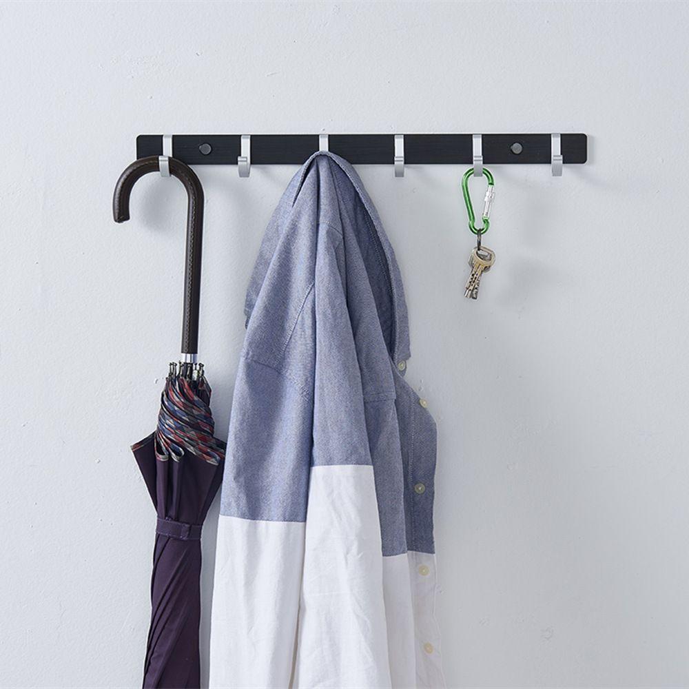 Wall Door Mounted 6 Hooks Hanger Rail Rack Coat Cloth Hat Robe Towel Key Handbag Holder Hanging Organizer Space Bedroom Washroom Office 45CM