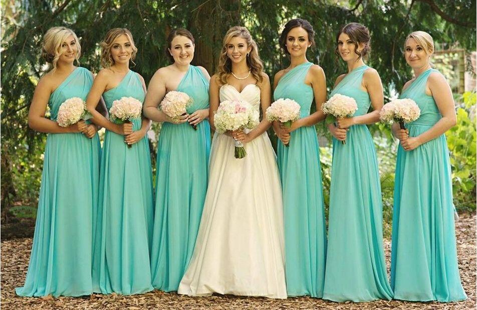 Aqua One shoulder Chiffon Cheap Bridesmaid Dress 2018 Ruched Floor length Zipper Back Under 100 Evening Party Wear Prom Dresses
