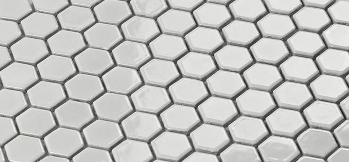 venda por atacado azulejo de mosaico de porcelana branca brilhante adesivo de cermica hexagon parede de banho parede de parede de decorao de parede