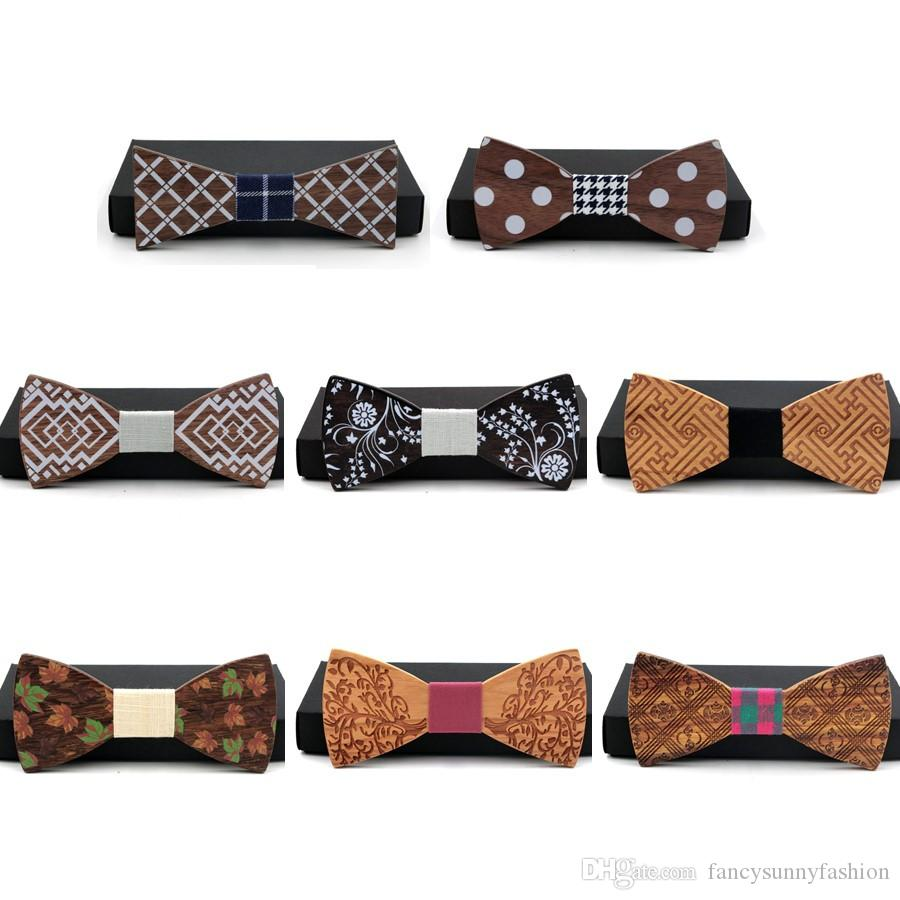 fd1a4da69012 Designer Handcrafted Wooden Bow Tie Carving Texture Pattern For Men Suit  Wear Fashion Style Natural Solid Wood Wenge Black Walnut Rosewood Neck Ties  Yellow ...