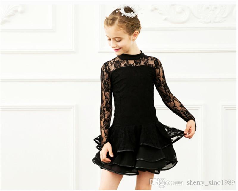Envío Gratis Negro Niños Vestido de Baile Latino Niñas de Alta Calidad de Encaje Tango Salsa cha cha Samba salón de baile competencia Vestido de Baile