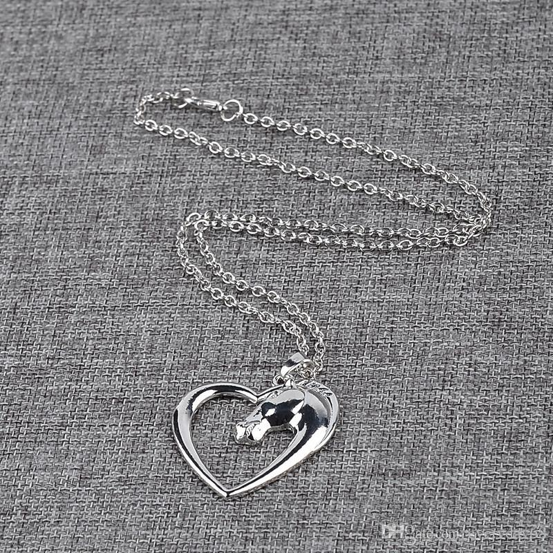 2017 father's day Plated white K Horse in Heart Fashion New jewelry Necklace Pendant Necklace for women girl mom gifts