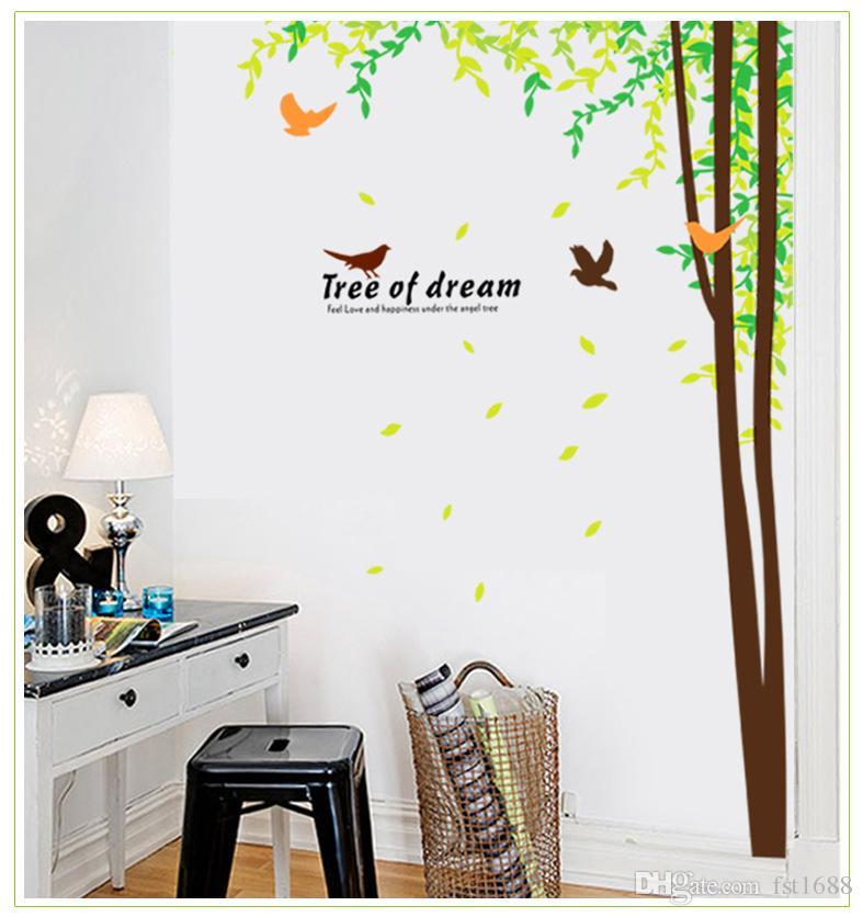 210 Flying Birds Tree Branch PVC Wall Sticker Wall Art Decorative Sticker Large Tree Animals Birds Wall Sticker Home Decor