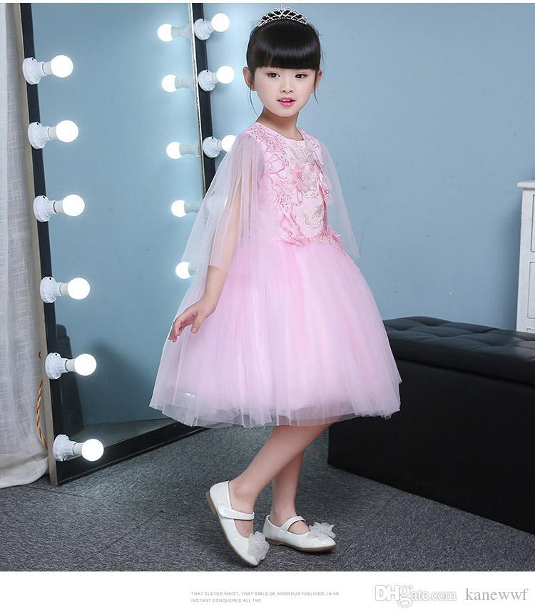 Cute Puffy Pink Tüll Mädchen Hochzeiten Kleider Appliques Ballkleid Mädchen Party Kommunion Kleid Baby 1 Jahr Geburtstag Taufe Kleider