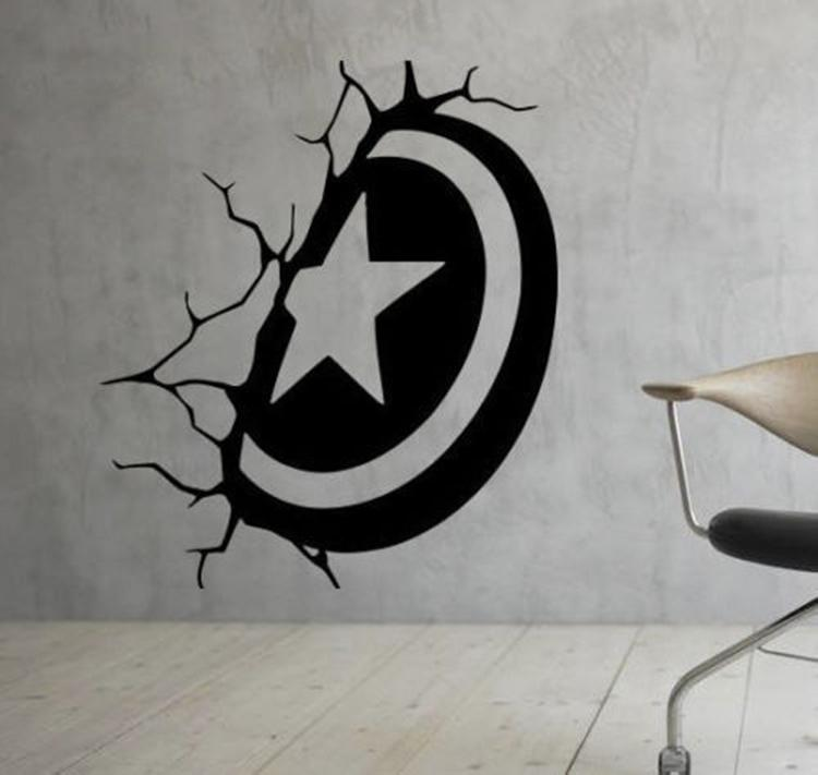 Captain America Shield Broken Wall Vinyl Decal Home Decor Living Room Mural  Wallpaper Removable Wall Stickers Diy Wall Decals Design Wall Decals  Designs ...