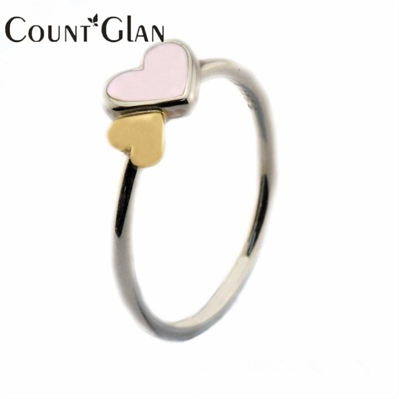 2016 Style D'été Lumineux Coeurs Caractéristique Anneaux D'argent Original 100% 925 Sterling Argent Bijoux DIY En Gros