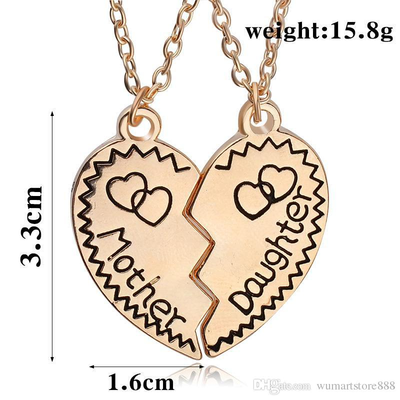b9addf2fe5b Mother Daughter Necklace Silver Gold Heart Love Mom Necklaces ...