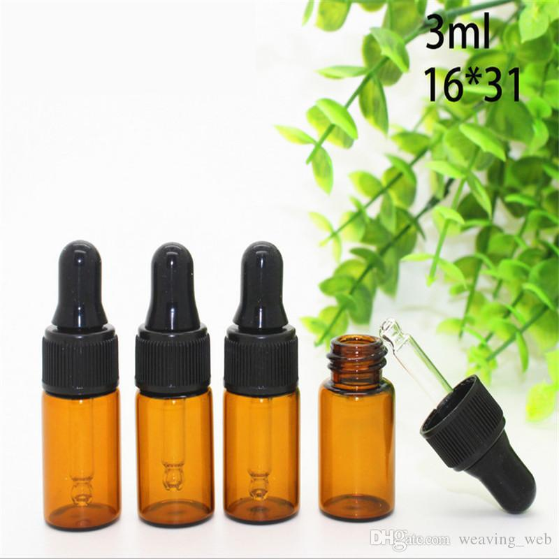 무료 배송 화장품 향수 에센셜 오일 병에 대 한 피펫으로 앰버 유리 dropper 병 유리 튜브 3 ml