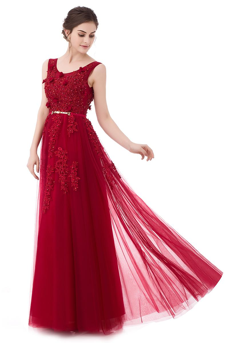 Ssyfashion New The Bride Wine Red Lace Flower Evening Dress Scoop ...